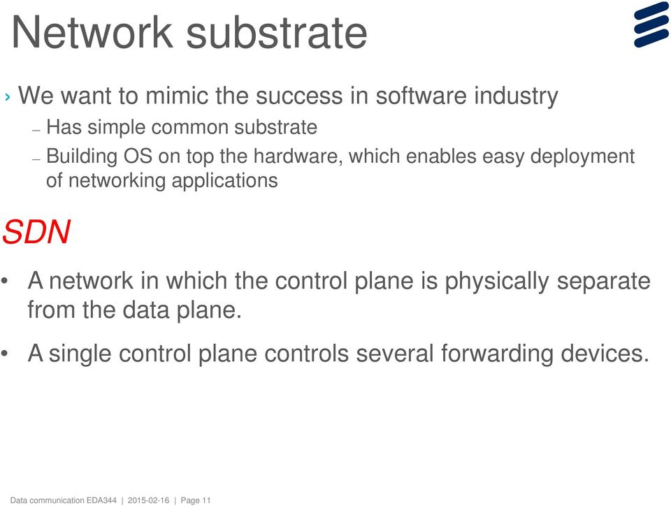 applications SDN A network in which the control plane is physically separate from the data