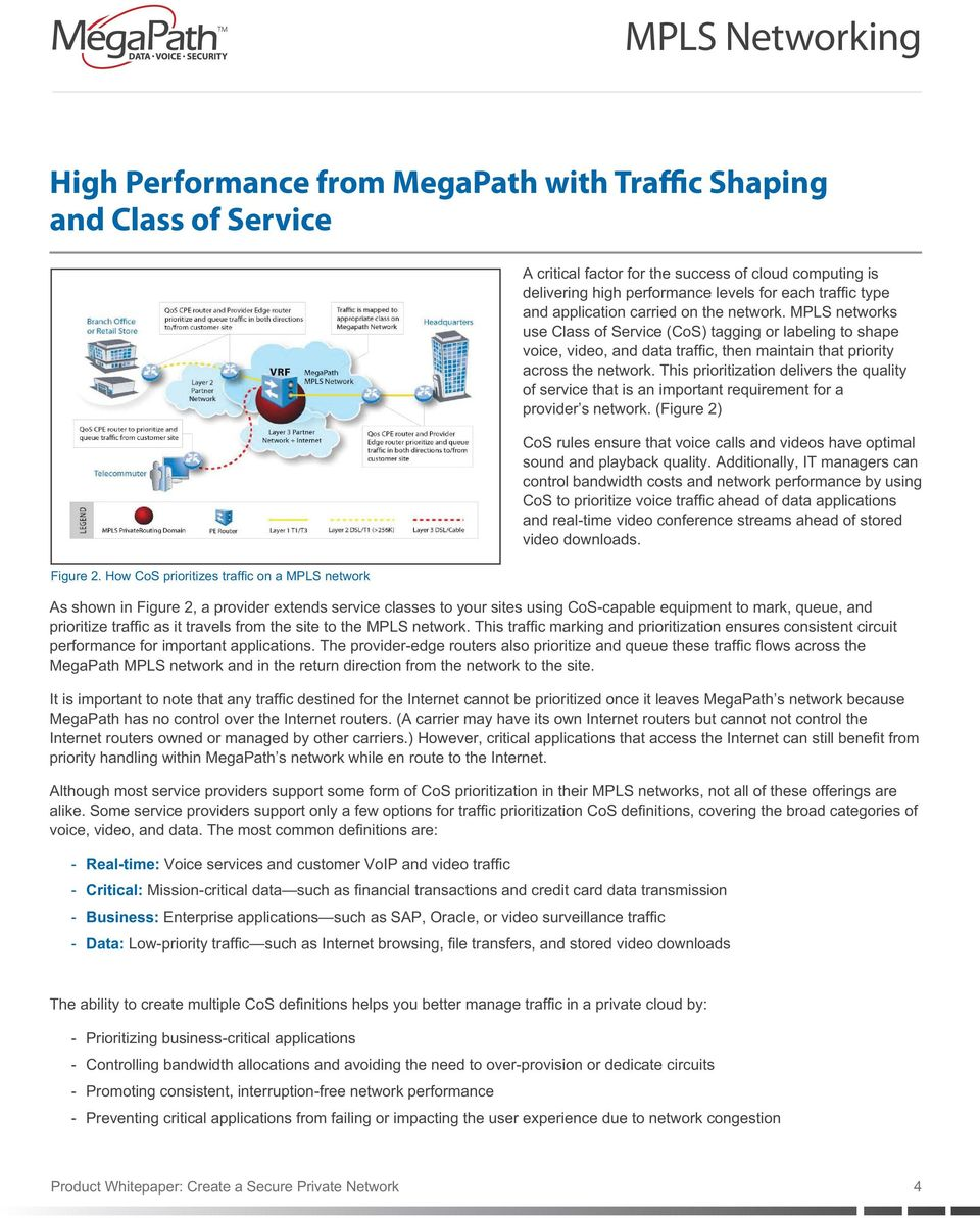 MPLS networks use Class of Service (CoS) tagging or labeling to shape voice, video, and data traffic, then maintain that priority across the network.