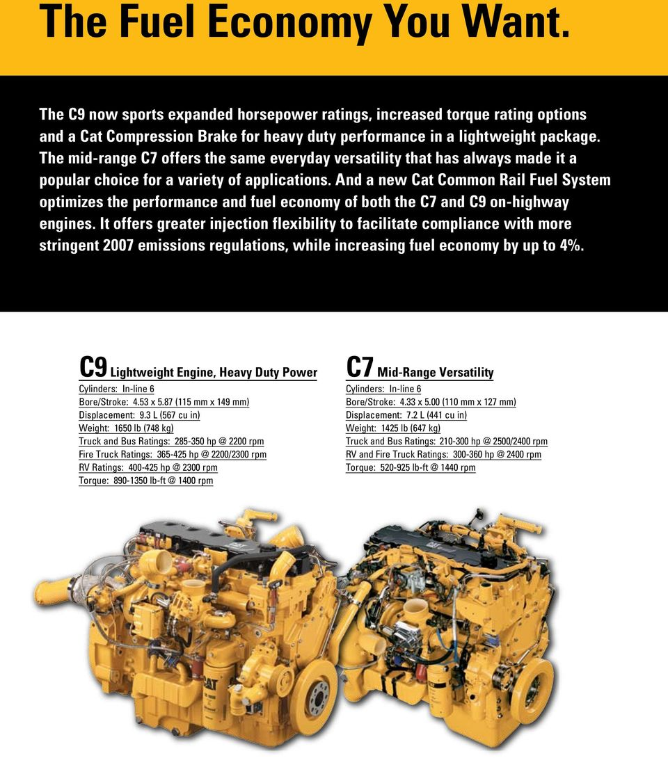 And a new Cat Common Rail Fuel System optimizes the performance and fuel economy of both the C7 and C9 on-highway engines.