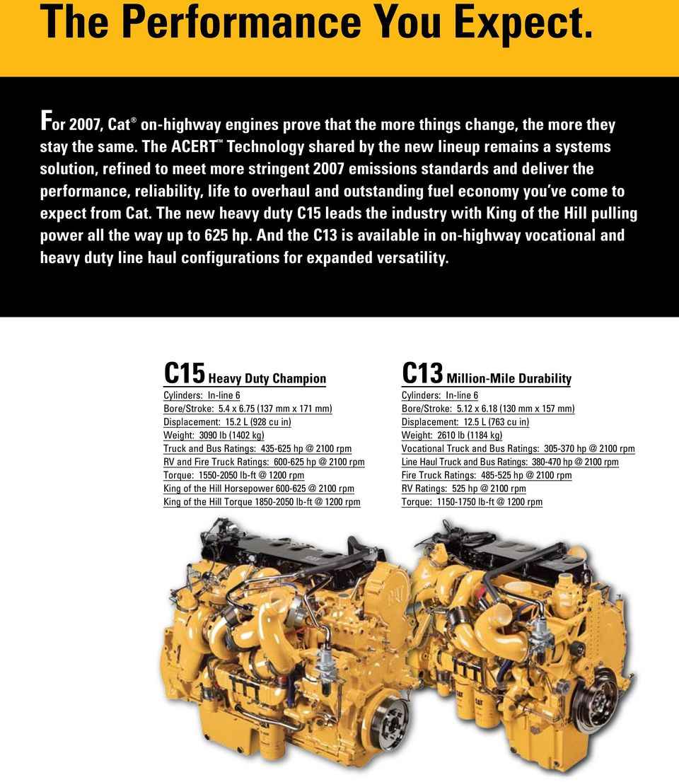 outstanding fuel economy you ve come to expect from Cat. The new heavy duty C15 leads the industry with King of the Hill pulling power all the way up to 625 hp.