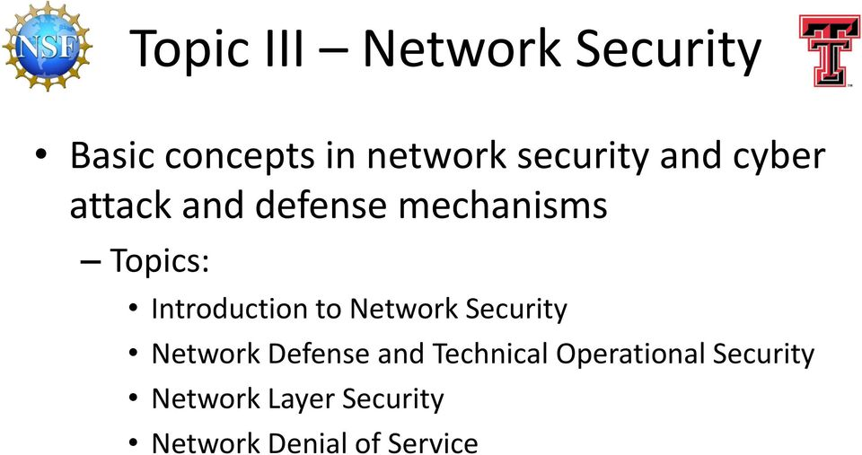 Introduction to Network Security Network Defense and