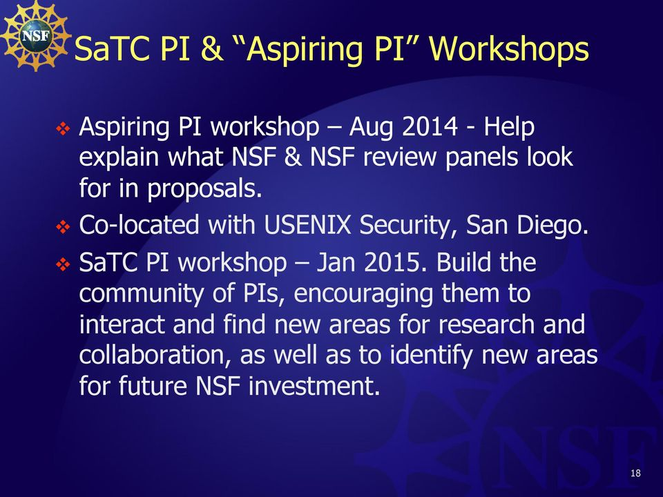 SaTC PI workshop Jan 2015.