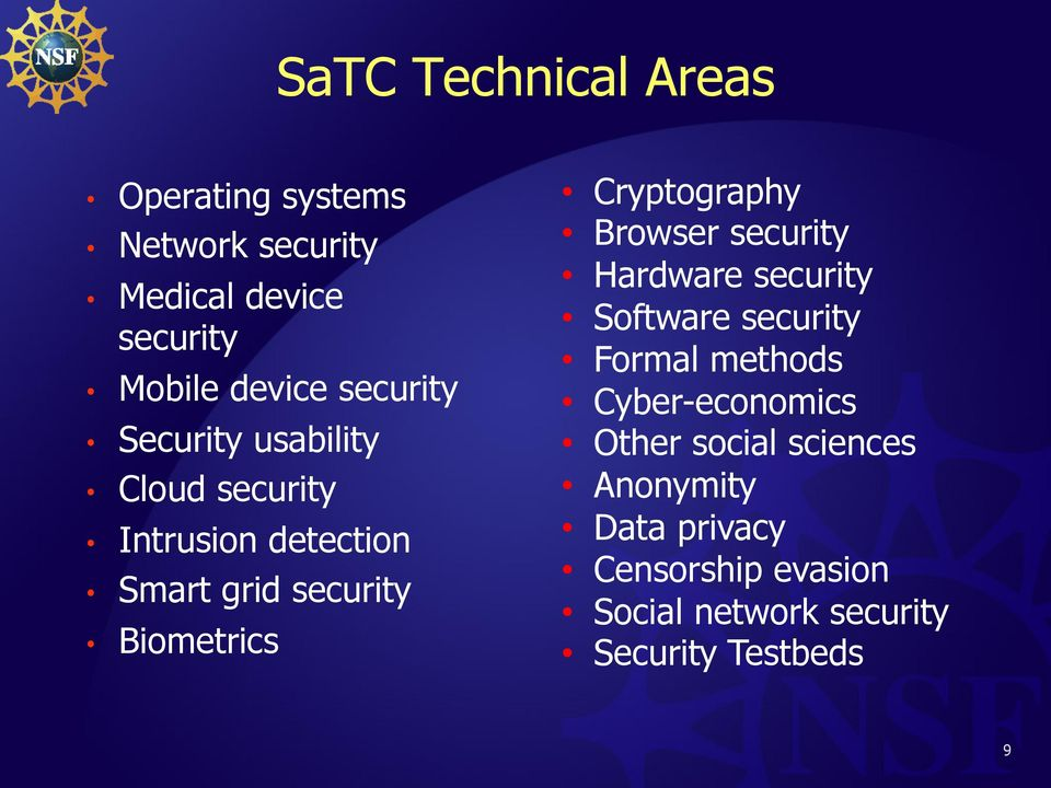 Cryptography Browser security Hardware security Software security Formal methods Cyber-economics