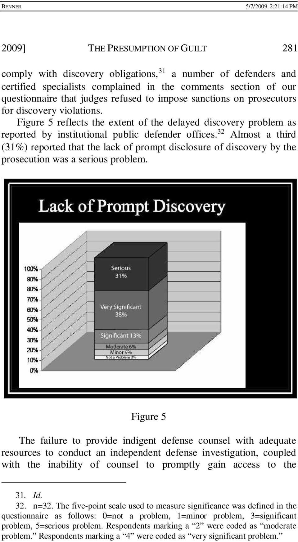 Figure 5 reflects the extent of the delayed discovery problem as reported by institutional public defender offices.