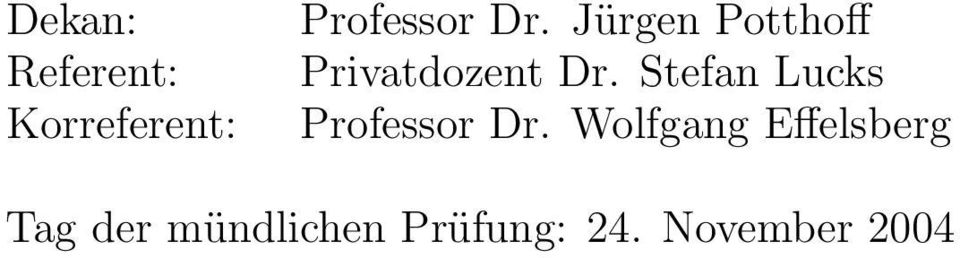 Stefan Lucks Professor Dr.