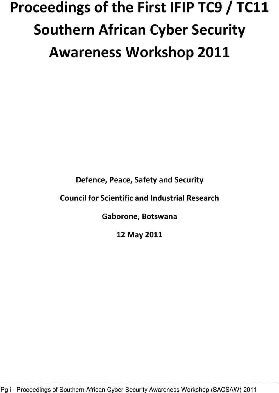 Scientific and Industrial Research Gaborone, Botswana 12 May 2011 Pg i -