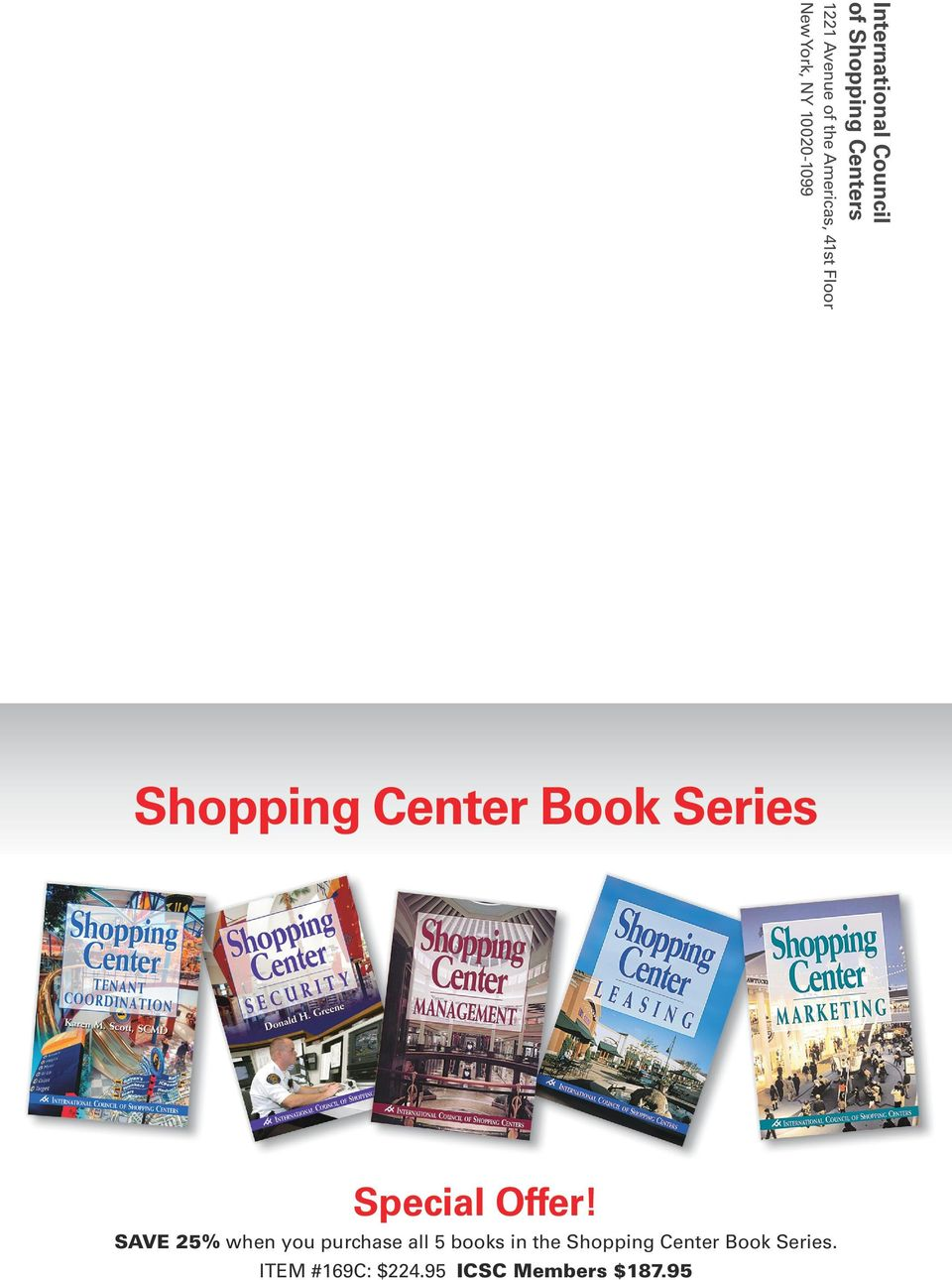 Book Series. ITEM #169C: $224.95 ICSC Members $187.
