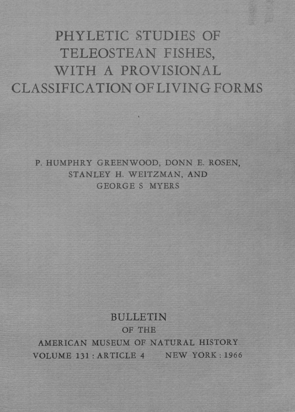 ROSEN, STANLEY H. WEITZMAN, AND GEORGE S MYERS VOLUME,-.