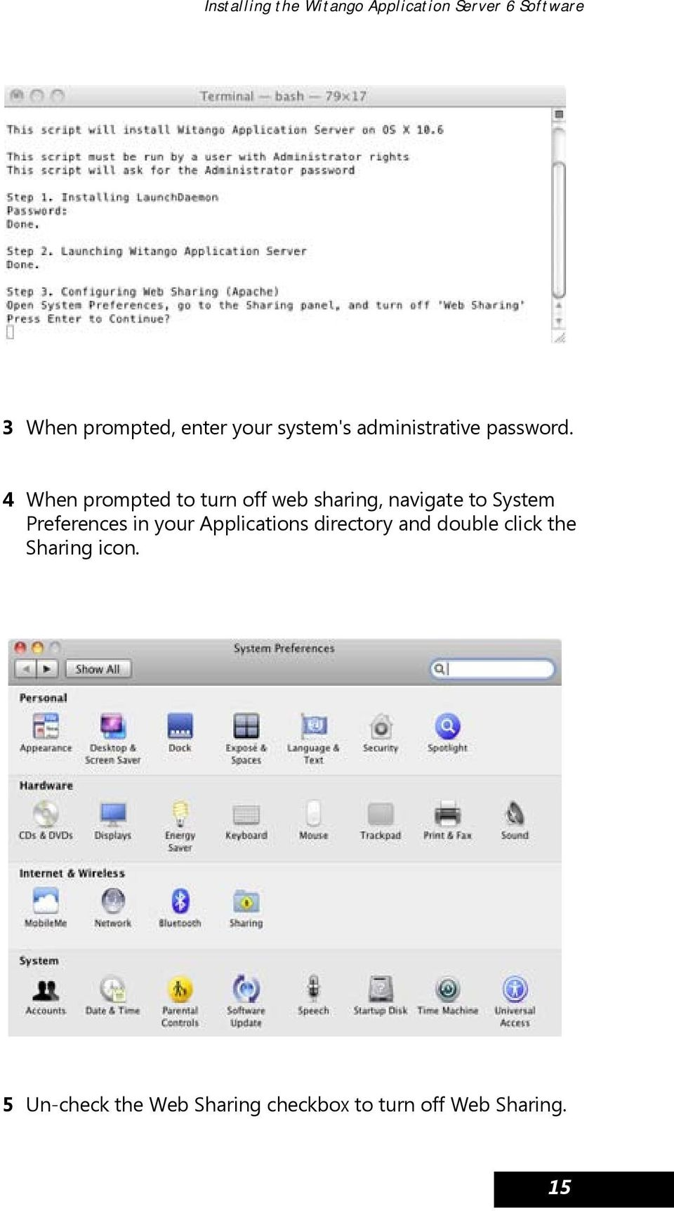 4 When prompted to turn off web sharing, navigate to System Preferences in your