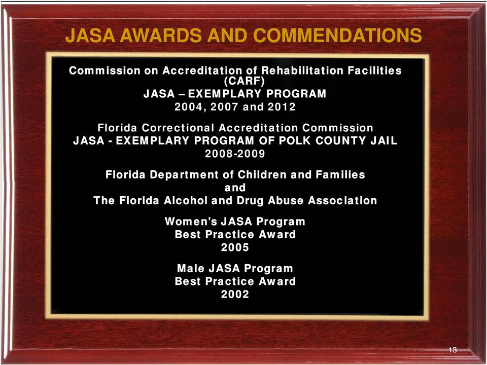PROGRAM OF POLK COUNTY JAIL 2008-2009 Florida Department of Children and Families and The Florida Alcohol