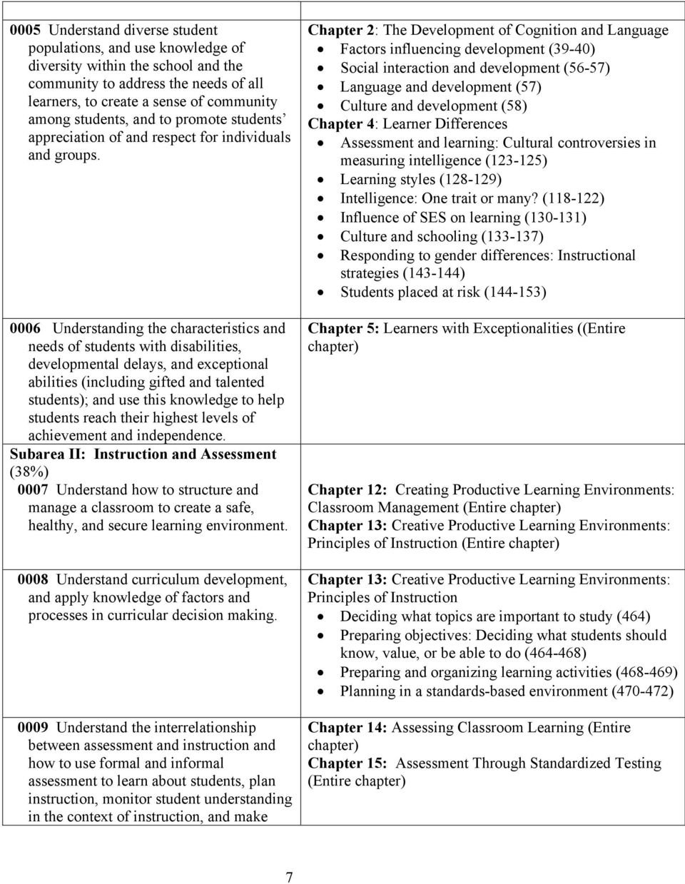 0006 Understanding the characteristics and needs of students with disabilities, developmental delays, and exceptional abilities (including gifted and talented students); and use this knowledge to