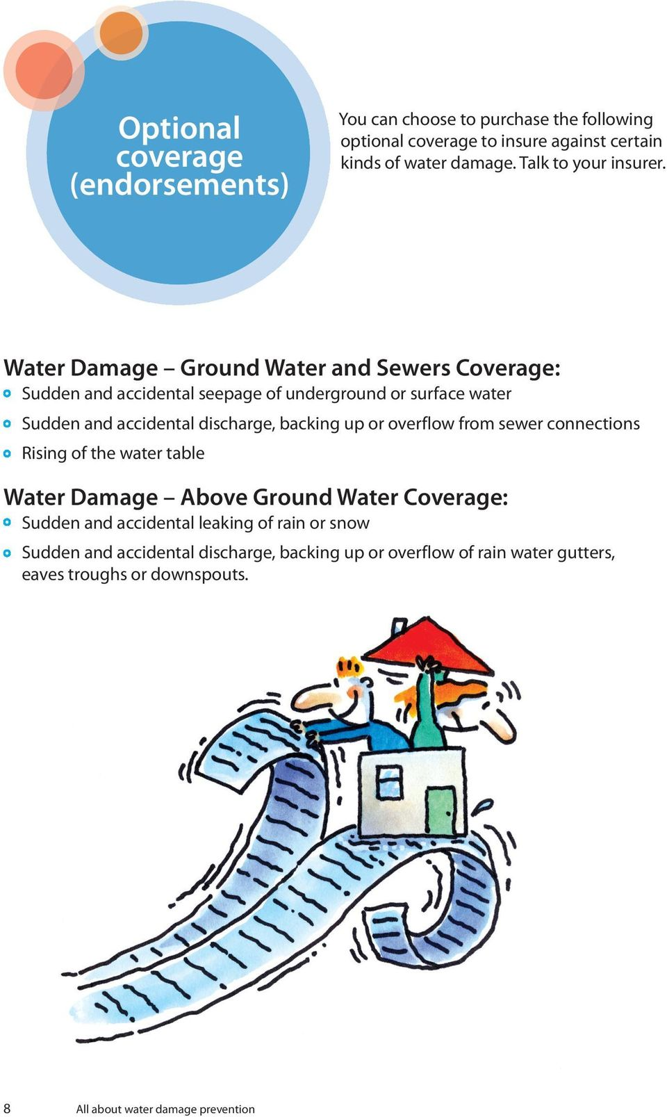 Water Damage Ground Water and Sewers Coverage: Sudden and accidental seepage of underground or surface water Sudden and accidental discharge, backing
