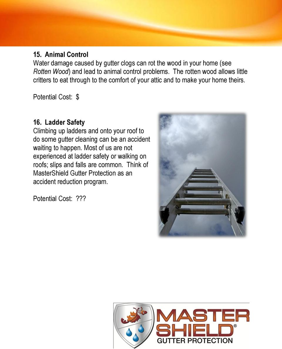 Ladder Safety Climbing up ladders and onto your roof to do some gutter cleaning can be an accident waiting to happen.