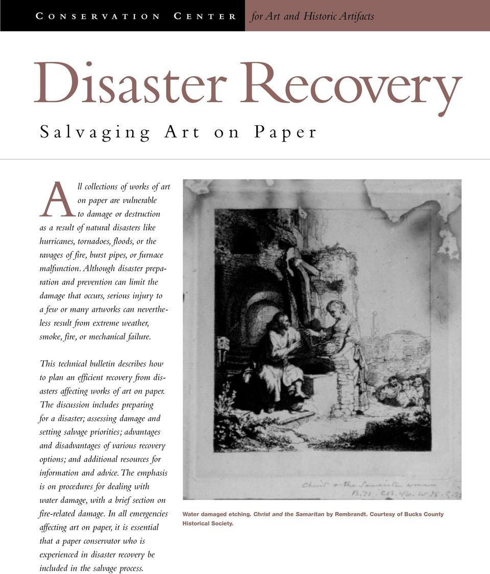 Although disaster preparation and prevention can limit the damage that occurs, serious injury to a few or many artworks can nevertheless result from extreme weather, smoke, fire, or mechanical