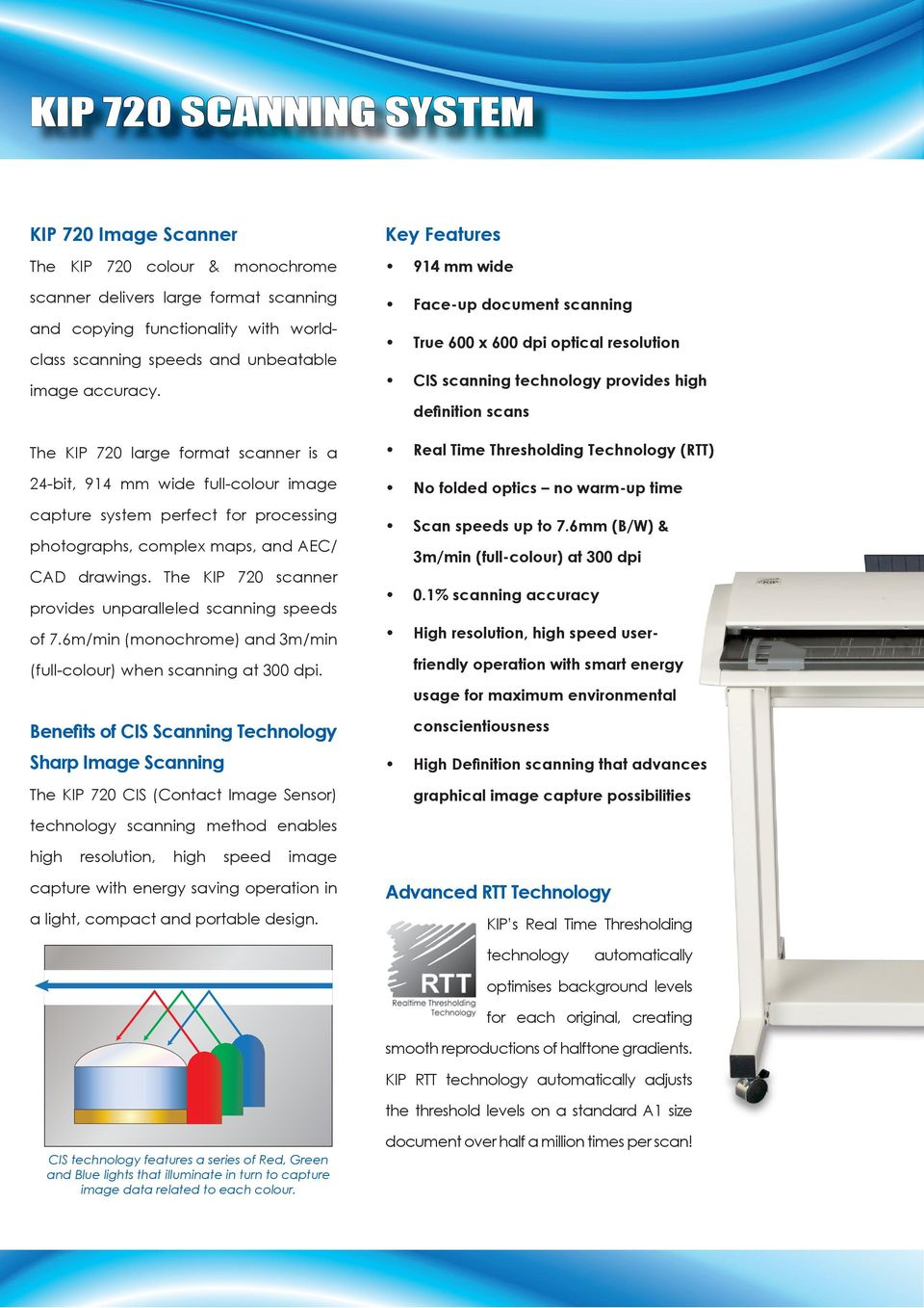 The KIP 720 scanner provides unparalleled scanning speeds of 7.6m/min (monochrome) and 3m/min (full-colour) when scanning at 300 dpi.