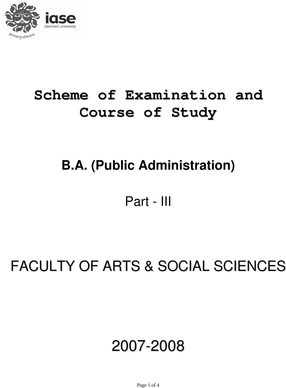 (Public Administration) Part - III