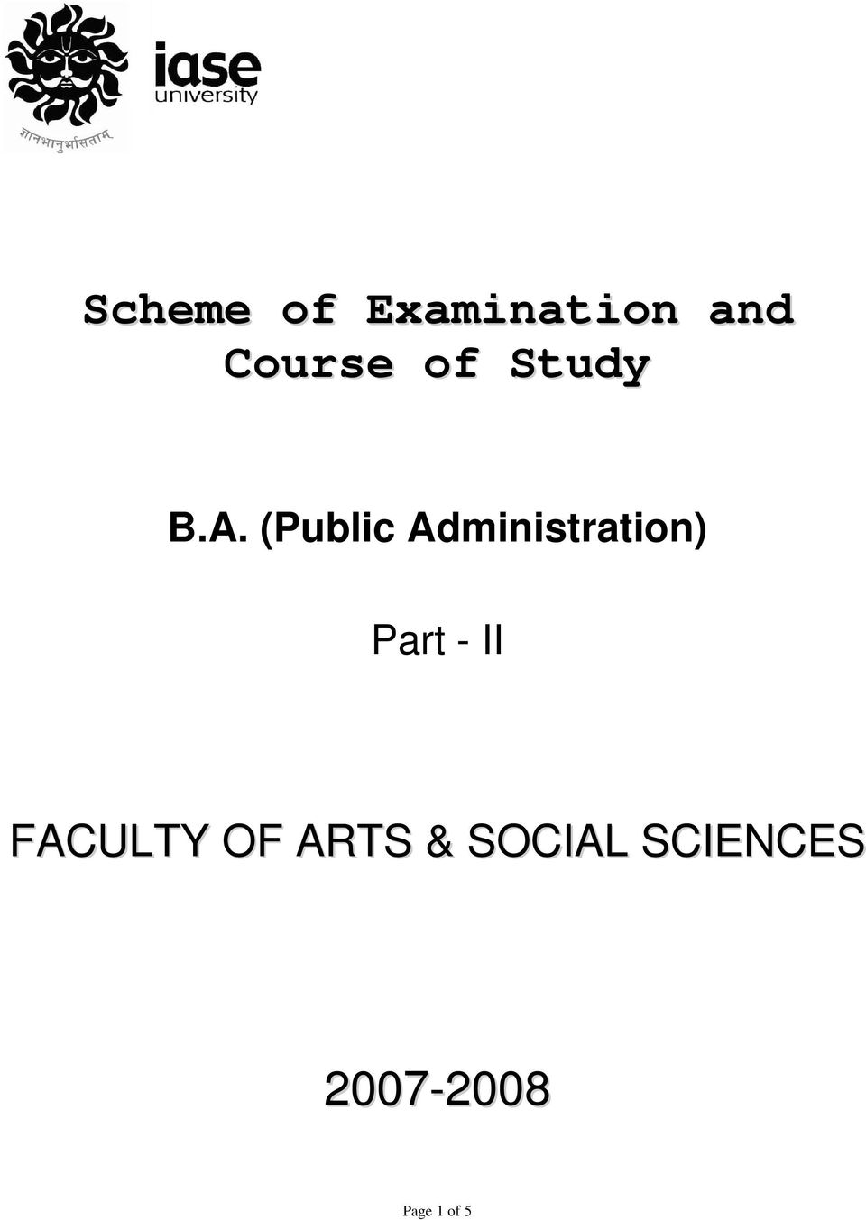 (Public Administration) Part - II