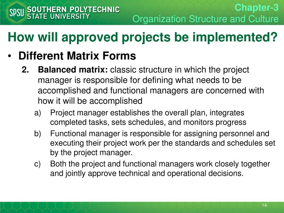 concerned with how it will be accomplished a) Project manager establishes the overall plan, integrates completed tasks, sets schedules, and monitors