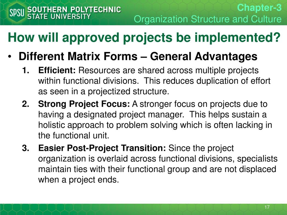 Strong Project Focus: A stronger focus on projects due to having a designated project manager.