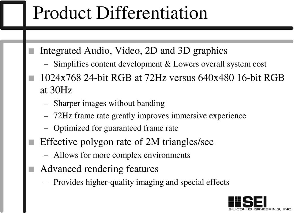 rate greatly improves immersive experience Optimized for guaranteed frame rate Effective polygon rate of 2M