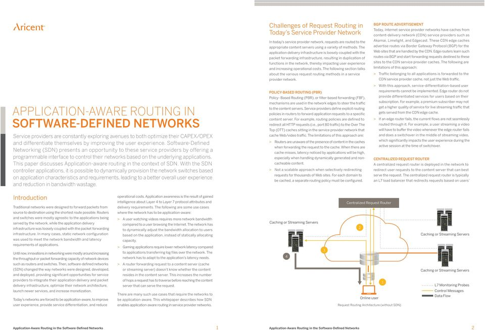 This paper discusses Application-aware routing in the context of SDN.
