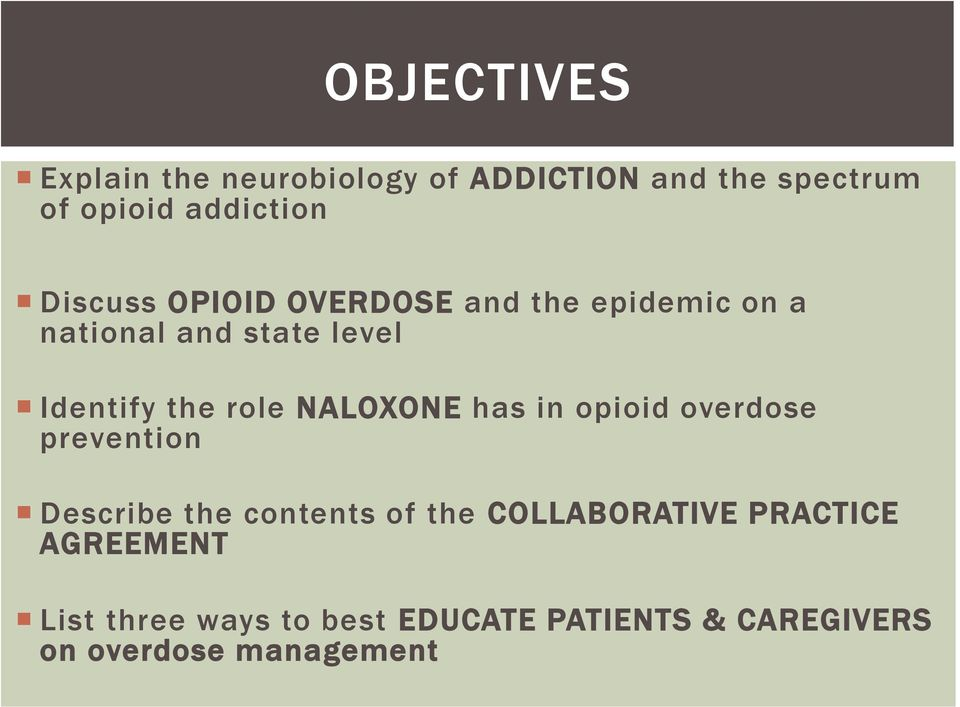 NALOXONE has in opioid overdose prevention Describe the contents of the COLLABORATIVE