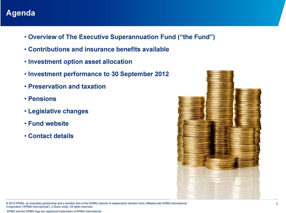 Investment option asset allocation Investment performance to 30 September