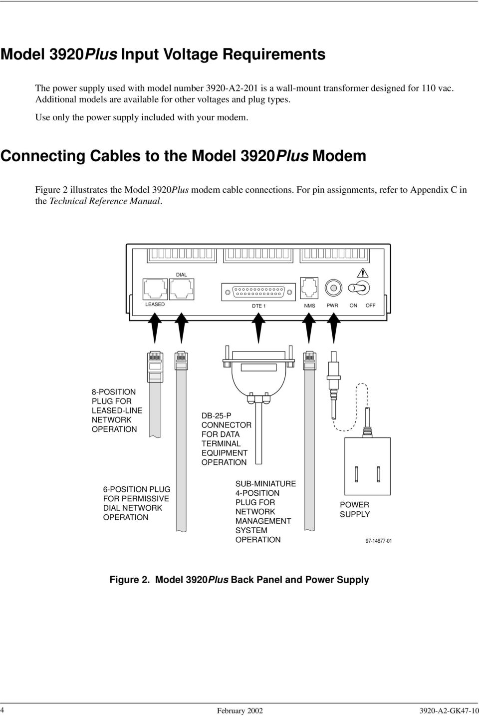 Connecting Cables to the Model 3920Plus Modem Figure 2 illustrates the Model 3920Plus modem cable connections. For pin assignments, refer to Appendix C in the Technical Reference Manual.