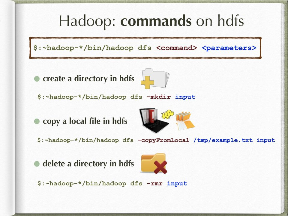 $:~hadoop-*/bin/hadoop dfs -mkdir input copy a local file in hdfs!