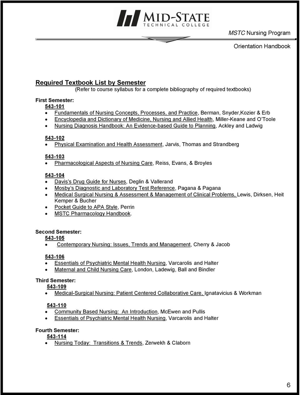 Ladwig 543-102 Physical Examination and Health Assessment, Jarvis, Thomas and Strandberg 543-103 Pharmacological Aspects of Nursing Care, Reiss, Evans, & Broyles 543-104 Davis s Drug Guide for