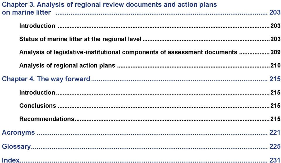 ..203 Analysis of legislative-institutional components of assessment documents.