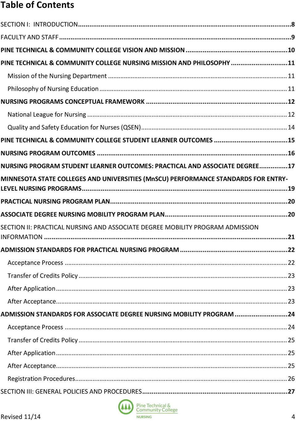 .. 12 Quality and Safety Education for Nurses (QSEN)... 14 PINE TECHNICAL & COMMUNITY COLLEGE STUDENT LEARNER OUTCOMES... 15 NURSING PROGRAM OUTCOMES.