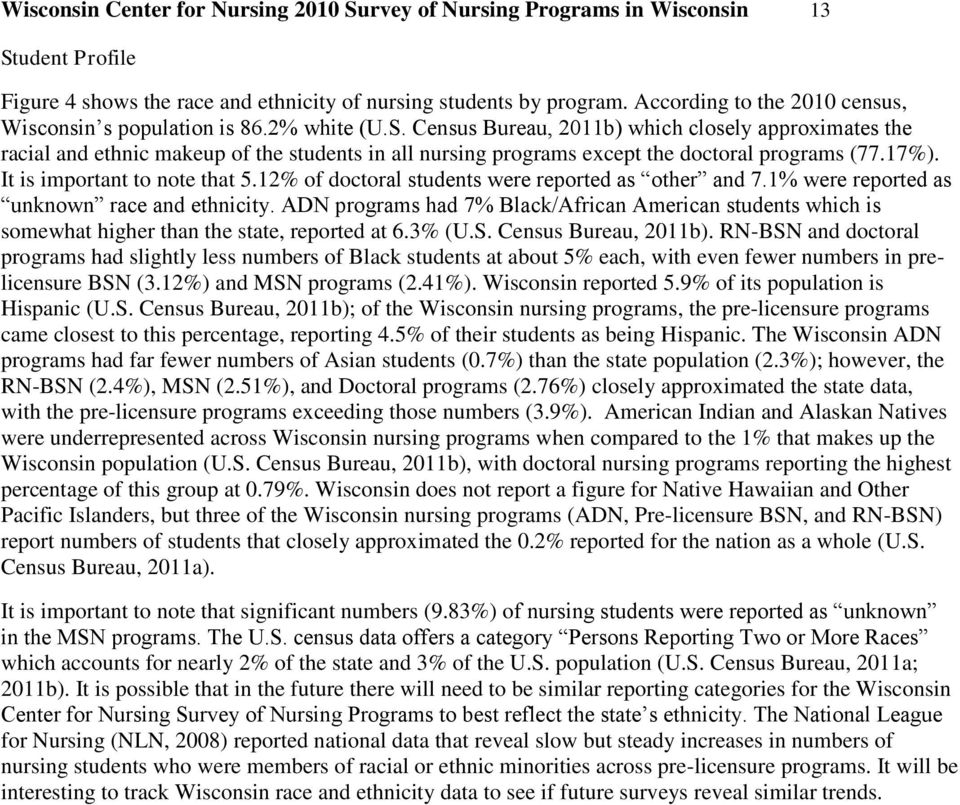 Census Bureau, 2011b) which closely approximates the racial and ethnic makeup of the students in all nursing programs except the doctoral programs (77.17%). It is important to note that 5.
