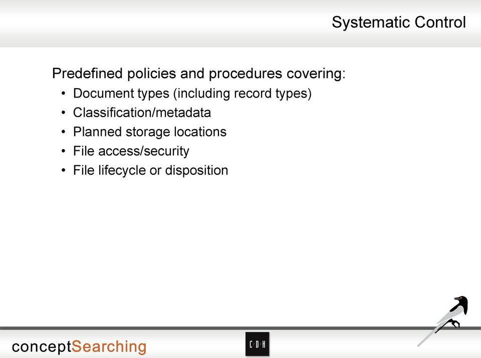 record types) Classification/metadata Planned