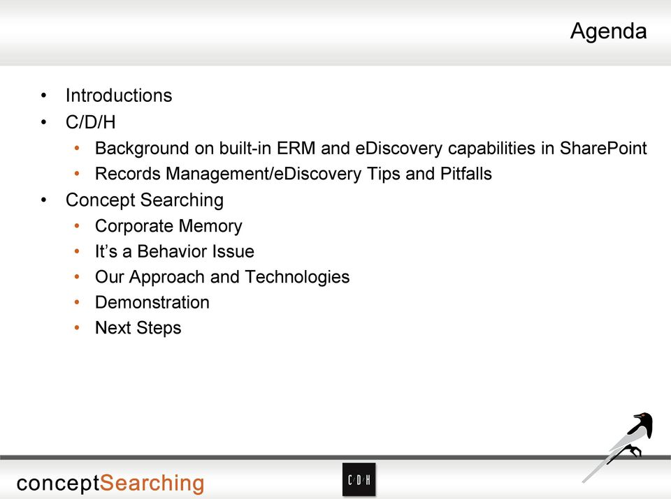 Management/eDiscovery Tips and Pitfalls Concept Searching