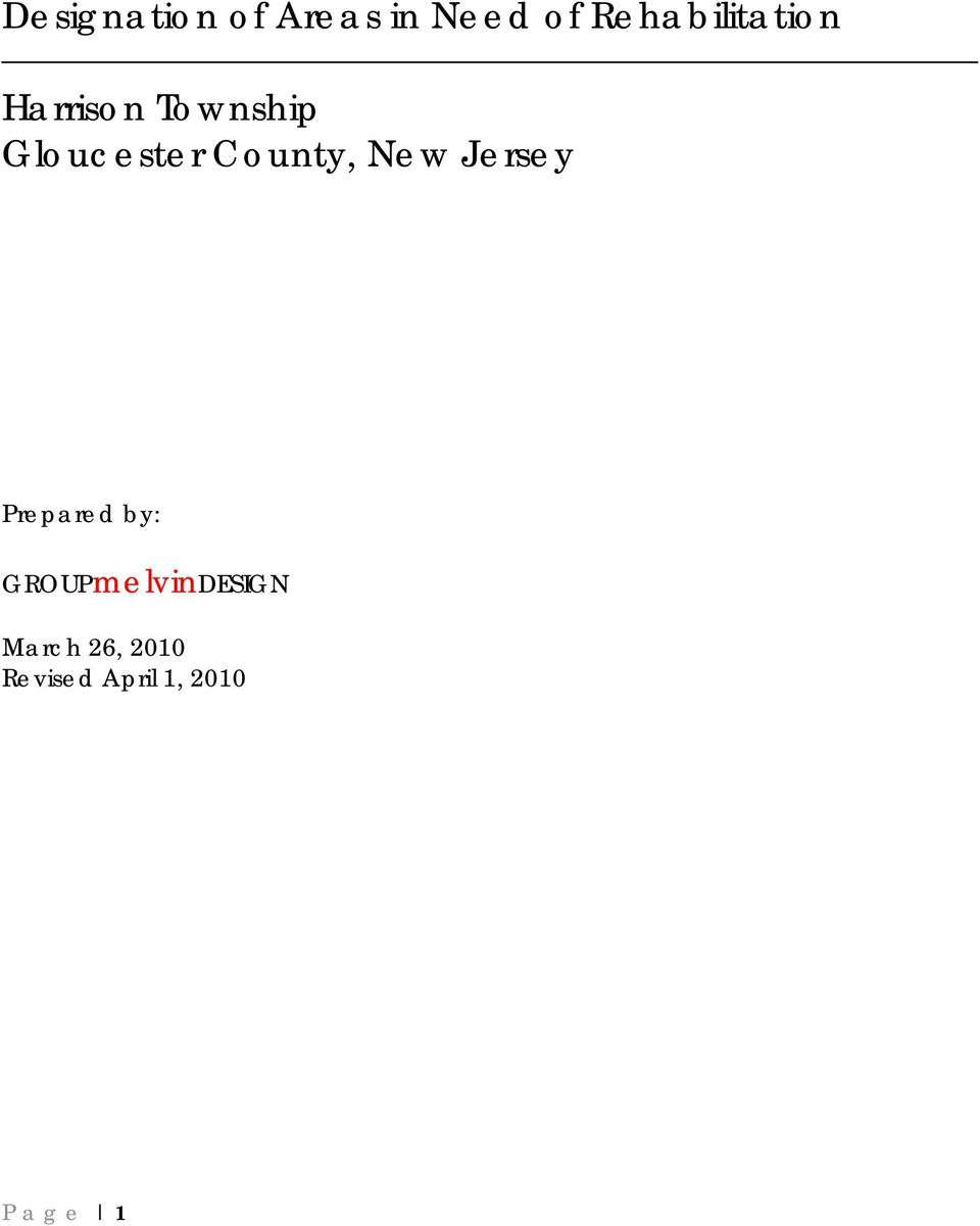 Gloucester County, New Jersey Prepared by: