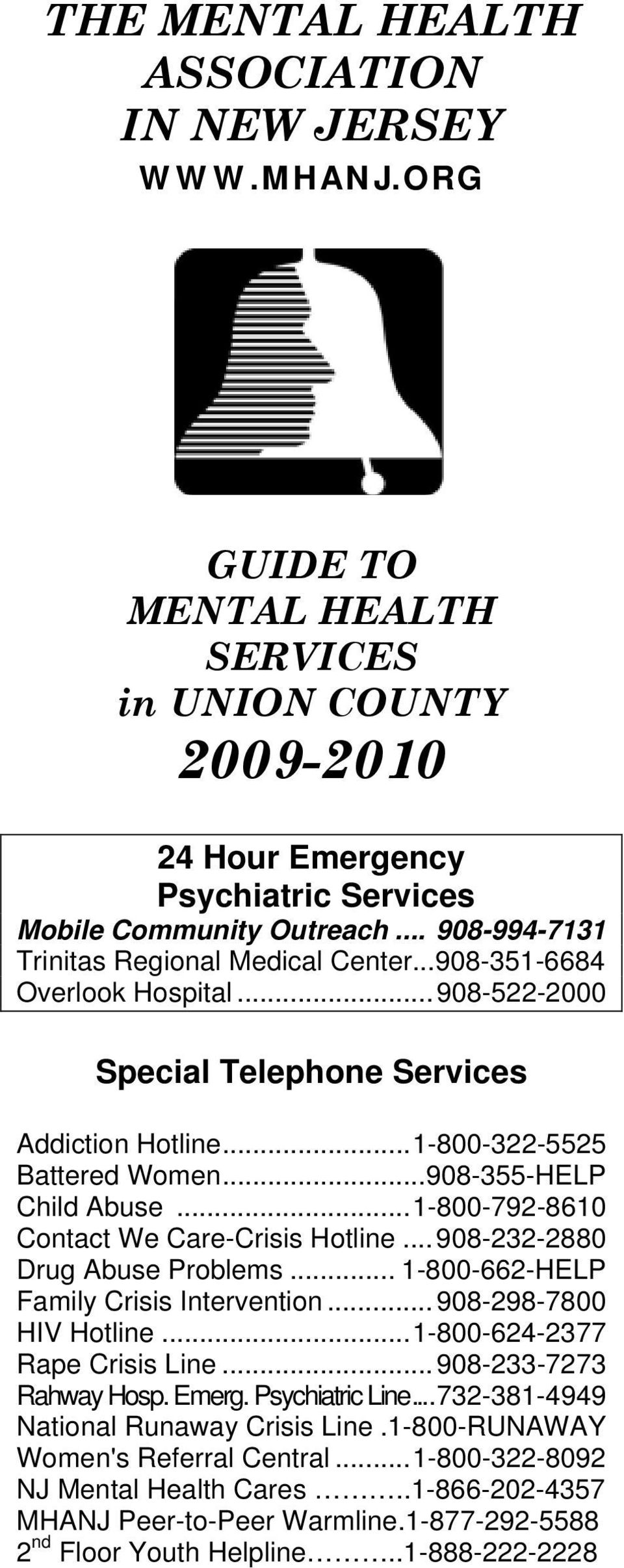 .. 908-355-HELP Child Abuse... 1-800-792-8610 Contact We Care-Crisis Hotline... 908-232-2880 Drug Abuse Problems... 1-800-662-HELP Family Crisis Intervention... 908-298-7800 HIV Hotline.