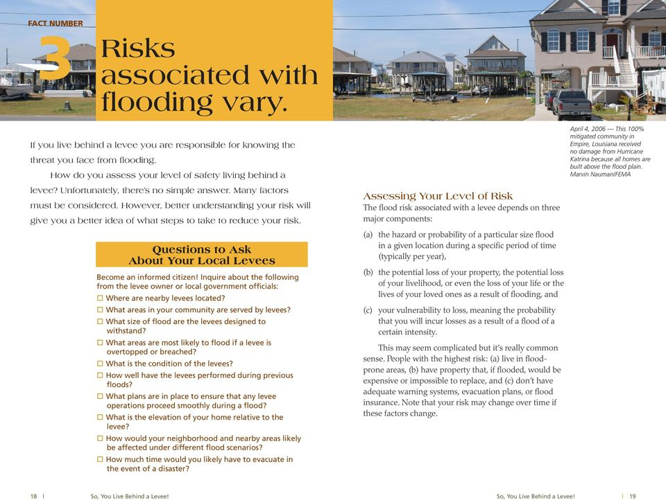 However, better understanding your risk will give you a better idea of what steps to take to reduce your risk. Questions to Ask About Your Local Levees Become an informed citizen!