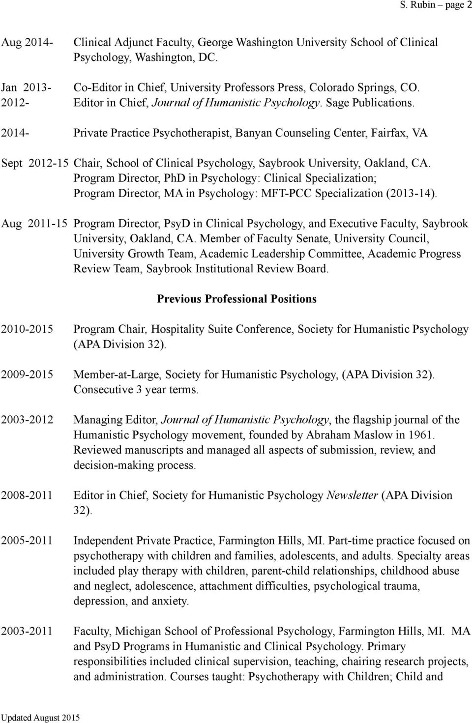 curriculum vitae shawn rubin psyd licensed clinical psychologist 2014 private practice psychotherapist banyan counseling center fairfax va sept 2012