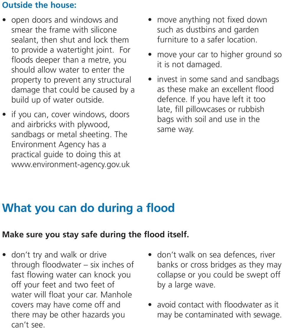 if you can, cover windows, doors and airbricks with plywood, sandbags or metal sheeting. The Environment Agency has a practical guide to doing this at www.environment-agency.gov.
