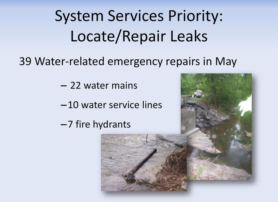 Water-related emergency repairs in
