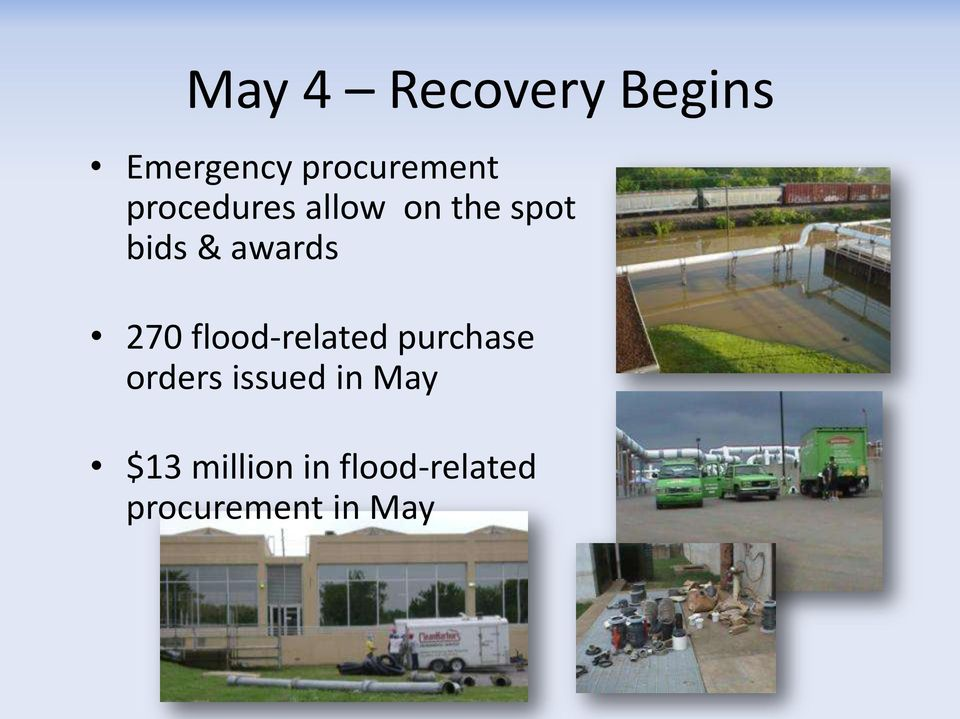 270 flood-related purchase orders issued in