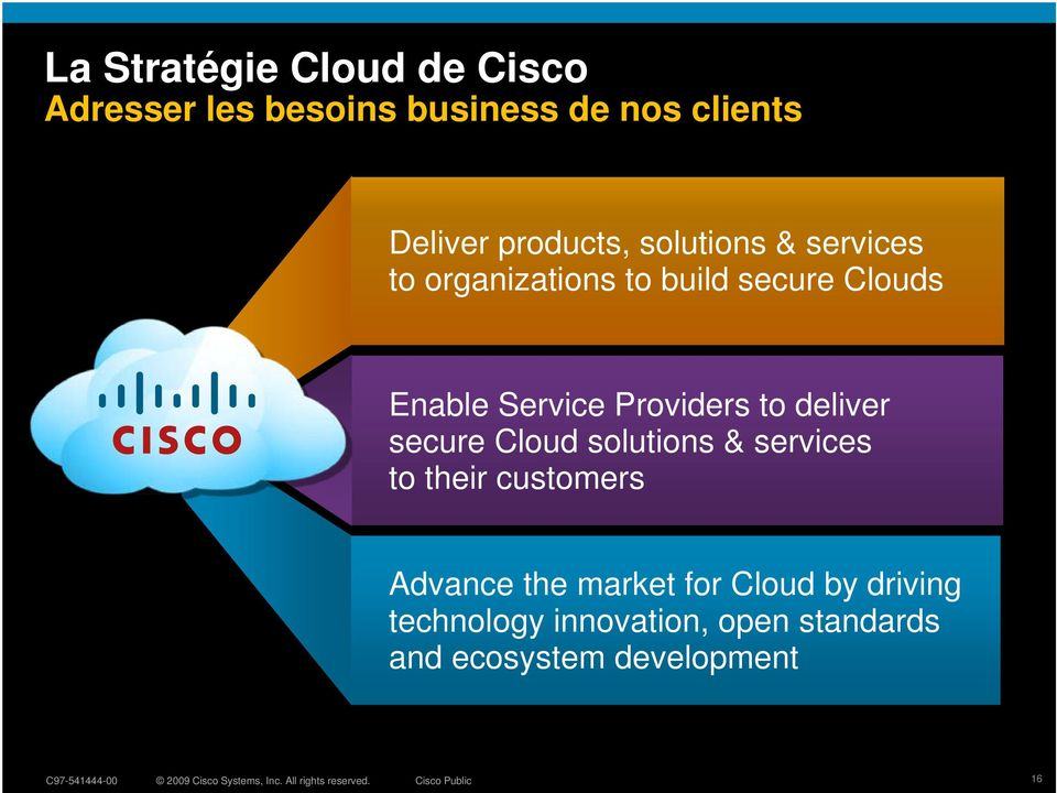 Providers to deliver secure Cloud solutions & services to their customers Advance the
