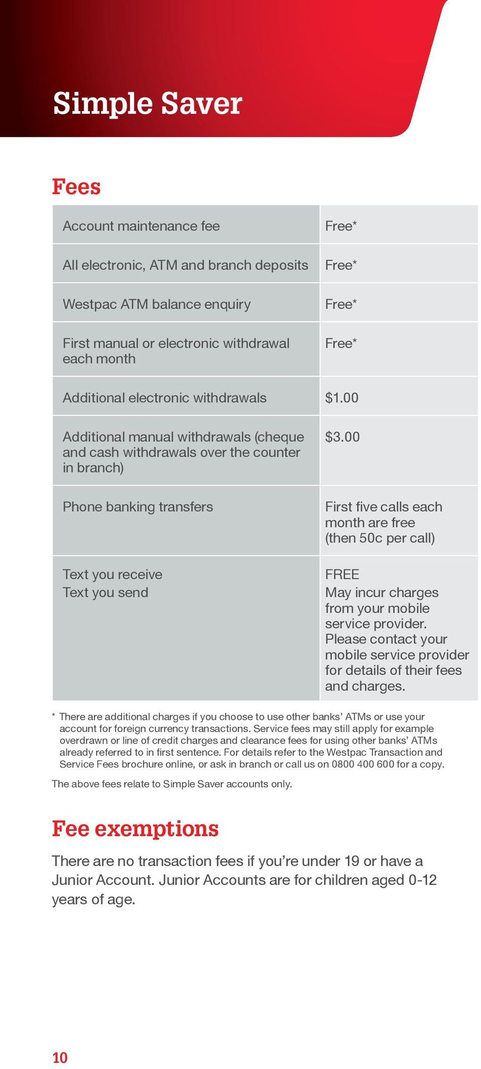 00 First five calls each month are free (then 50c per call) FREE May incur charges from your mobile service provider. Please contact your mobile service provider for details of their fees and charges.