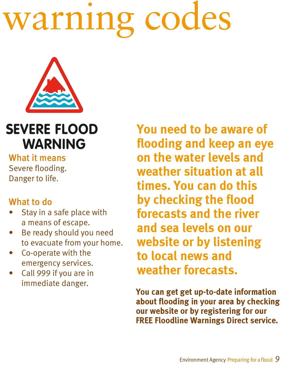 You need to be aware of flooding and keep an eye on the water levels and weather situation at all times.
