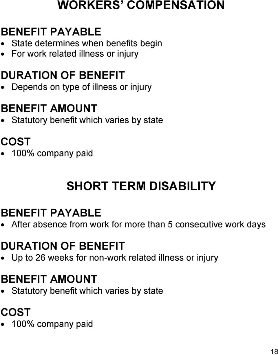 SHORT TERM DISABILITY BENEFIT PAYABLE After absence from work for more than 5 consecutive work days DURATION OF BENEFIT Up