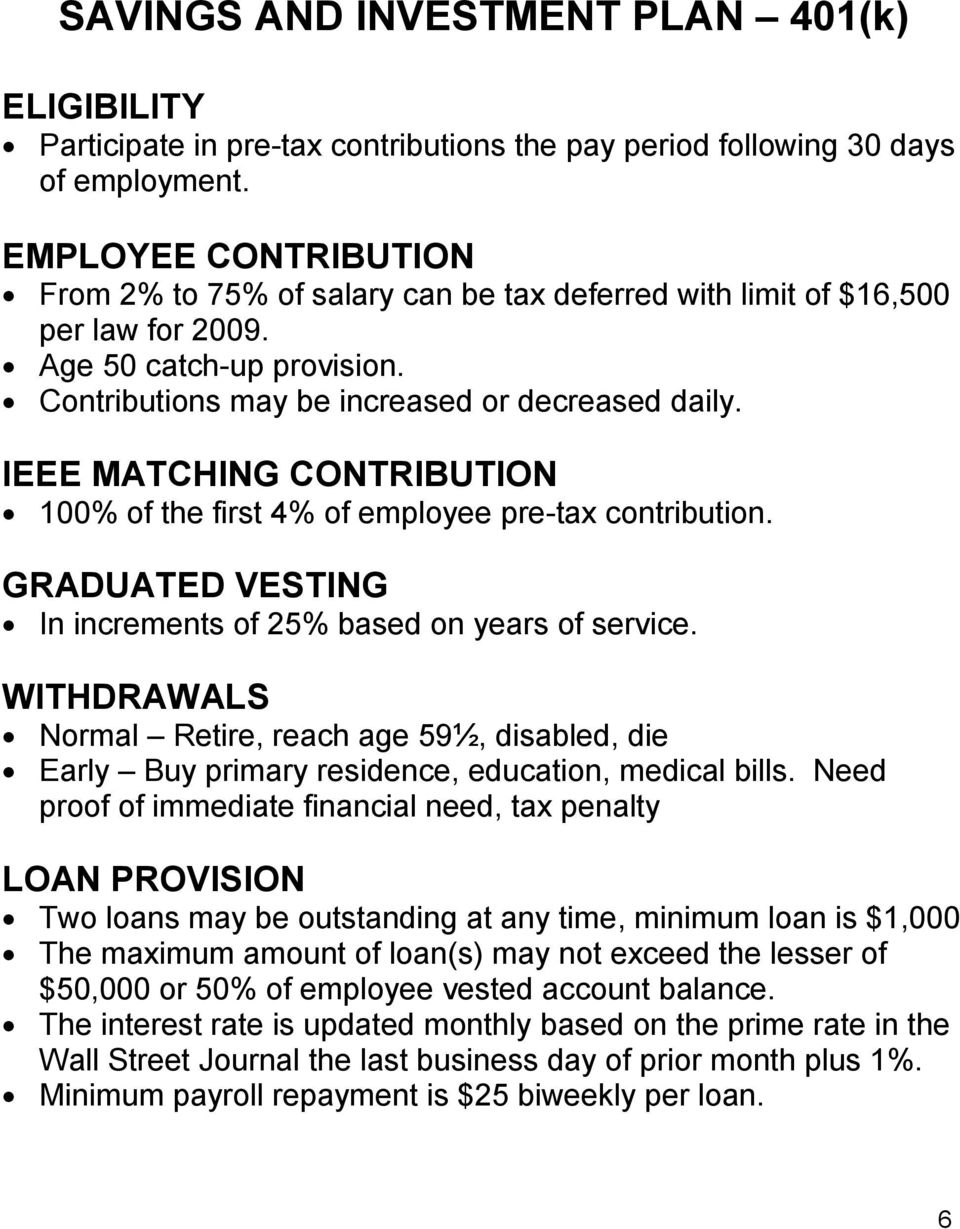 IEEE MATCHING CONTRIBUTION 100% of the first 4% of employee pre-tax contribution. GRADUATED VESTING In increments of 25% based on years of service.