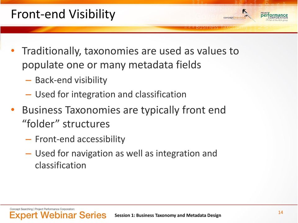 classification Business Taxonomies are typically front end folder structures