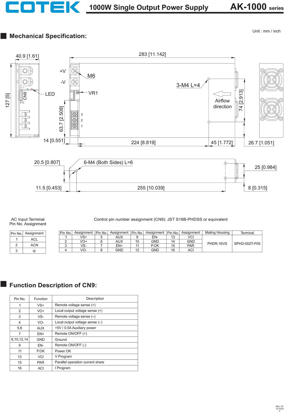 5] AC Input Terminal Control pin number assignment (): JST S6B-PHDSS or equivalent ACL ACN 4 5 56 7 8 9 0 5 P.