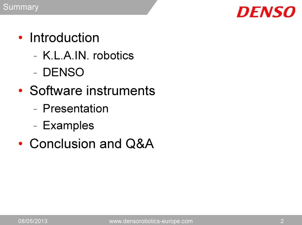 Presentation - Examples Conclusion and